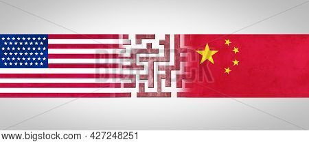China Us Challenge And Usa Or United States Trade And American Tariffs Conflict With Two Opposing Tr