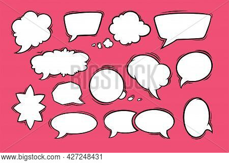 Speech Bubbles In Oval, Rectangular, Heart And Star Shapes. Vintage Speech Boxes Isolated In Red Bac