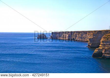 Tarhankut Cape, Crimea Peninsula. Summer Seascape, Famous Travel Destination. Beautiful Sea Coast Wi