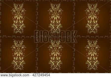 Raster Abstract Background With Repeating Elements. Seamless Damask Classic Golden Pattern. Raster I