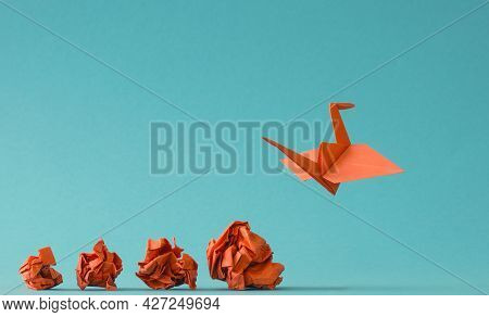 New Ideas Or Transformation Concept With Crumpled Paper Balls And A Crane, Teamwork, Creativity, Bus