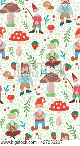 Simple Light Childish Pattern With Gnomes, Natural And Doodle Decorations. Texture With Leprechauns,