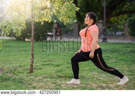 Outdoor Sport. Fat Burning. Fitness Beginner. Body Positive. Happy Young Obese Overweight Woman In S