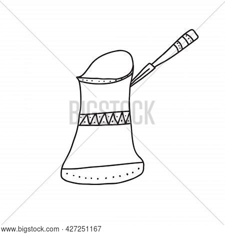 Hand Drawn Doodle Vector Illustration Of Traditional Turkish Coffee Pot For Brewing Hot Coffee. Isol