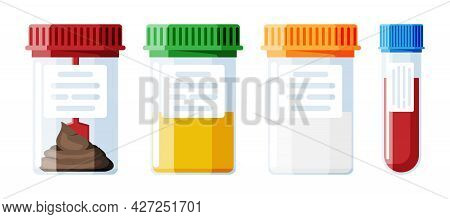 Test Tubes With Caps. Stool, Blood, Urine And Sperm. Medical Equipment. Specimen Cups For Gynecologi