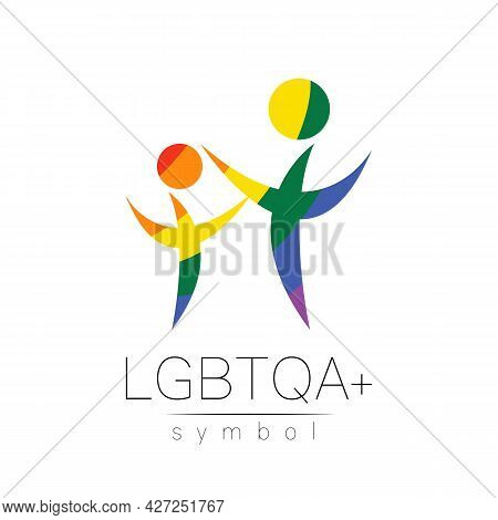 Vector Lgbtqa Family Symbol. Pride Flag Background. Icon For Gay, Lesbian, Bisexual, Transsexual, Qu