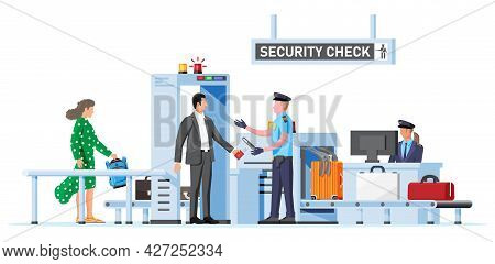 Passengers Passes Security Check. Airport Security Guard On Metal Detector. Check Point Isolated On