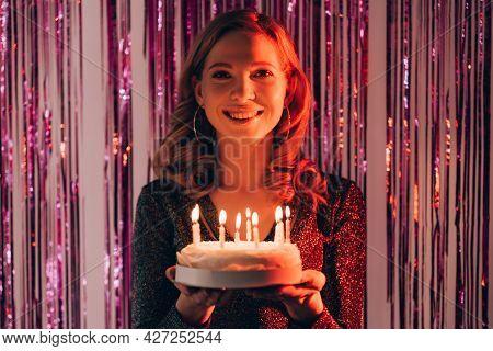 Festive Bakery. Happy Woman. Birthday Party. Smiling Inspired Lady Feeling Amazed Holding Cake With