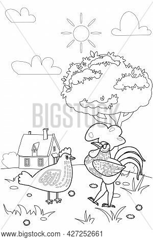 Cute Rooster And Chicken Farm Animals Coloring Book Educational Illustration For Children, Rural Lan