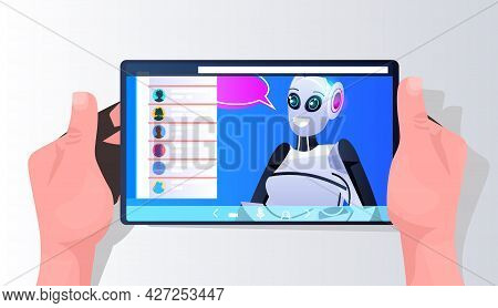Robot Cyborg With Chat Bubble On Smartphone Screen Online Communication Artificial Intelligence Tech