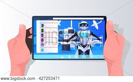 Robotic Doctor Surgeon On Smartphone Screen Medicine Healthcare Online Medical Consultation Artifici
