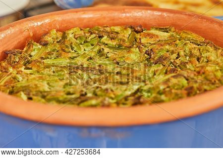 Pie With Asparagus And Peas In Baking Dish. Step By Step Recipe