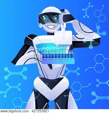Robot Holding Test Tubes With Liquid Robotic Chemist Making Experiments In Lab Genetic Engineering A