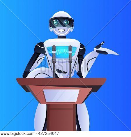 Robot Doctor Giving Speech From Tribune Medical Conference Medicine Healthcare Artificial Intelligen