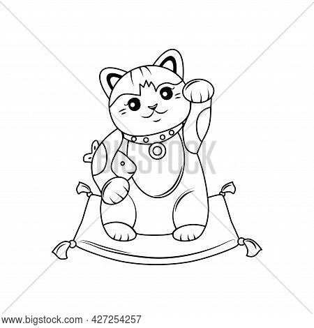 Japanese Cat Maneki Neko Outline. He Raised His Paw Up, Holds The Carp, Sits On The Pillow. Vector I