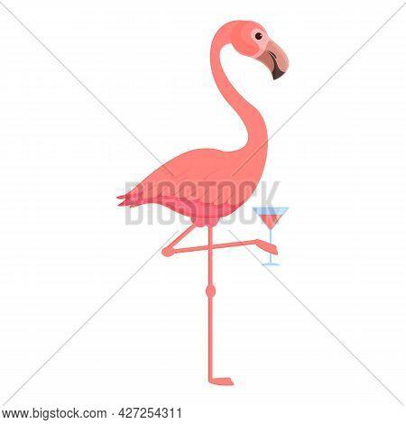 Flamingo Cocktail Icon Cartoon Vector. Pink Bird. Cute Flamingo