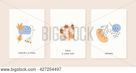 Set Of Autumn Mood Abstract Greeting Card Templates With Oak And Maple Leaf, Acorn, Branch With Berr
