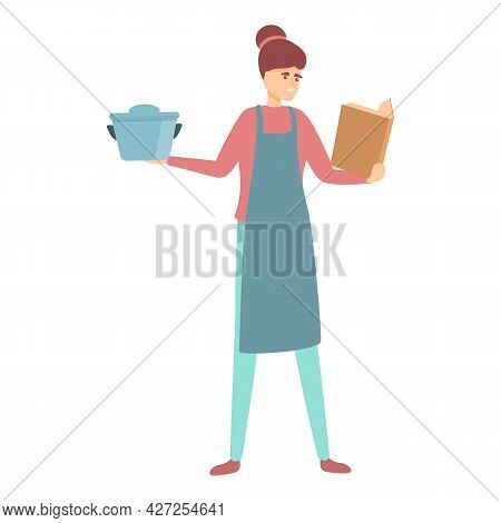 Mom Cooking Icon Cartoon Vector. Mother Kitchen. Housewife Cook