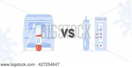 Concept Of Covid Rt Pcr Versus Rapid Test. Comparison Between Polymerase Chain Reaction And Express