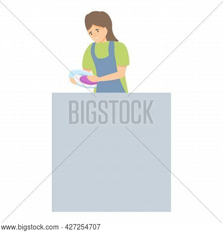 Dish Wash Icon Cartoon Vector. Clean Housework. Woman Housewife