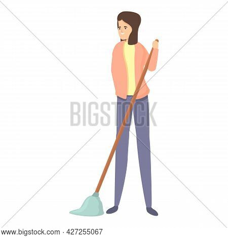Mom Mop Cleaning Icon Cartoon Vector. Woman Housewife. Housework Clean