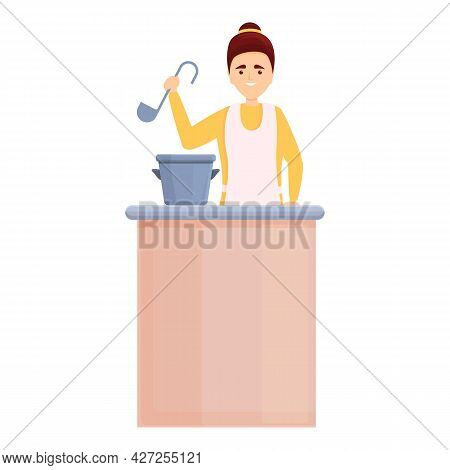 Soup Home Cooking Icon Cartoon Vector. Mom Kitchen. Cook Household