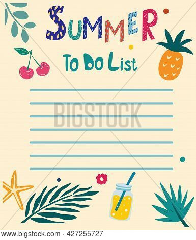 Summer To Do List. Summer Hand Drawn Blanks With Tropical Leaves, Cherry, Pineapple, Drink, Starfish