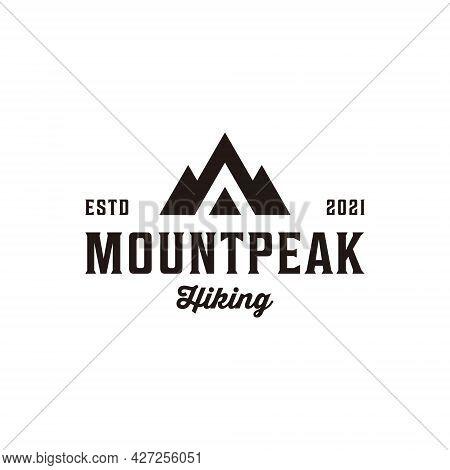 Retro Vintage Mountain Peak Hipster Logo Design. Logo Can Be Used For Icon, Brand, Identity, Symbol,