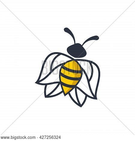 Nature Element Creative Linear Bee Logo. Logo Can Be Used For Icon, Brand, Identity, Sweet, Symbol,