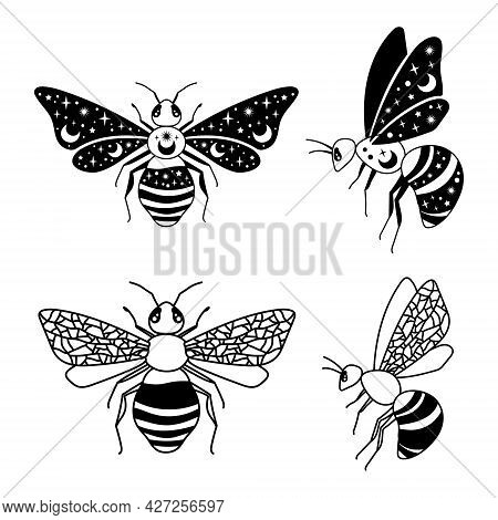 Magic Honey Bee Clipart, Celestial Bee Isolated Items On White, Bumblebee Black And White Vector Sil