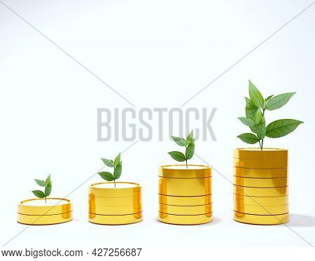 Abstract Stacked Coins With Leaves On Top Show Investment Income Ideas, Higher Index Valuations, And