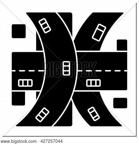 Multi-level Junction Glyph Icon.road Junction To Let Traffic Pass Through Junction Without Interrupt
