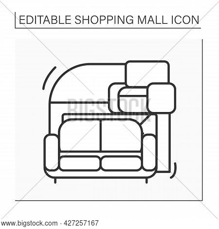 Furniture Store Line Icon. Shop With Special Goods For Houses. Furnishings And Home Accents. Modern,