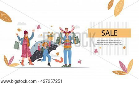 Autumn Sale Website Banner With People With Umbrellas And Big Shopping Bags. Autumn Sale Web Banner