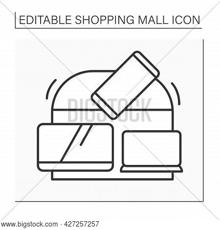 Electronics Store Line Icon. Shop With Different Electronics Goods. Sells Tv Monitors, Laptops , Cel