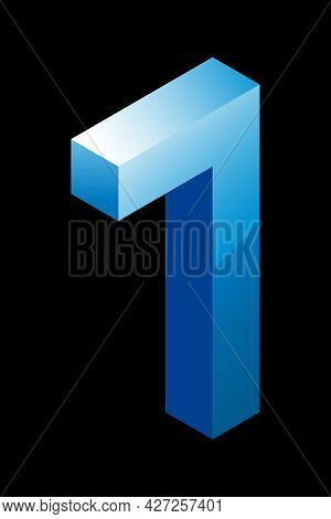 Gradient Blue Number 7 In Isometric Style. Isolated On Black Background. Water Texture. Learning Num