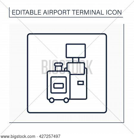 Self Check-in Line Icon. Self-check In Certain Time To Boarding Through Kiosks. Baggage Registration