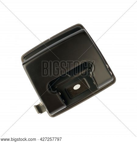 Black Office Hole Punch Isolated On White Background, Office