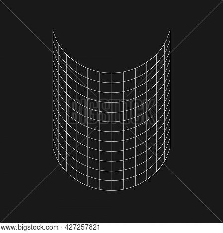 Retro Futuristic Half Cylinder Grid. Cyber Design Element. Grid In Cyberpunk 80s Style. Cyber Geomet