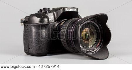 Berlin, Germany - May 15, 2014 : studio shot of 4k camera Panasonic GH4.