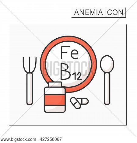 Anemia Prevention Color Icon. Iron-rich Diet And Vitamin B12. Health Protection. Healthcare Concept.