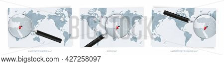 Blue Abstract World Maps With Magnifying Glass On Map Of Jordan With The National Flag Of Jordan. Th