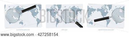 Blue Abstract World Maps With Magnifying Glass On Map Of Kuwait With The National Flag Of Kuwait. Th