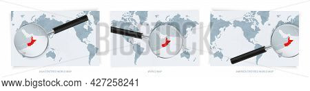 Blue Abstract World Maps With Magnifying Glass On Map Of Oman With The National Flag Of Oman. Three