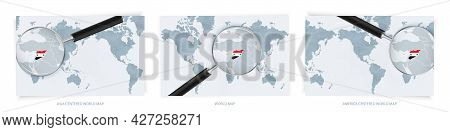 Blue Abstract World Maps With Magnifying Glass On Map Of Syria With The National Flag Of Syria. Thre