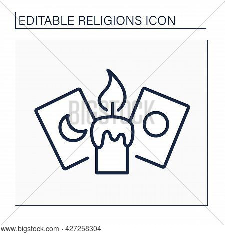 Spiritualism Line Icon.candle And Cards For Spiritualistic Session. Belief That Spirits Of Dead Exis