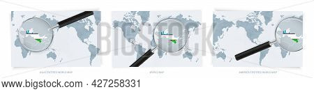 Blue Abstract World Maps With Magnifying Glass On Map Of Uzbekistan With The National Flag Of Uzbeki