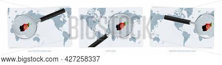Blue Abstract World Maps With Magnifying Glass On Map Of Afghanistan With The National Flag Of Afgha