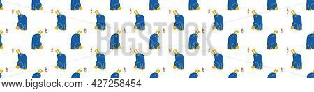 Seamless Cartoon Pet Bunny Doodle Border. Whimsical Minimal 2 Tone Gender Neutral Color. Kids Nurser