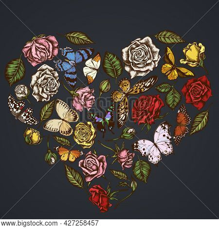 Heart Floral Design On Dark Background With Lemon Butterfly, Red Lacewing, African Giant Swallowtail